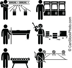 A set of human pictogram representing man recreational and leisure games (bowling, arcade games, pool table, paintball, soccer table, and archery),