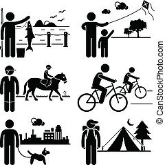 A set of human pictogram representing man recreational outdoor activities (fishing, kite surfing, horse riding, cycling, dog walking, and camping).