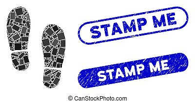 Rectangle Mosaic Boot Footprints with Distress Stamp Me Seals