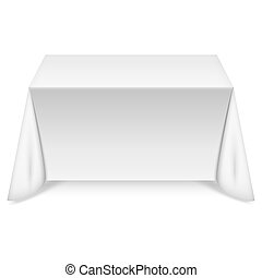 Rectangular table with white tablecloth. Vector illustration.