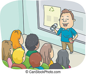 Illustration of a Man Delivering a Lecture on Recycling