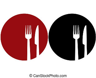 red and black plate with fork and knife silhouettes