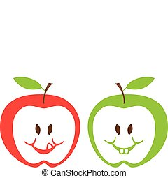 red and green apples, vector