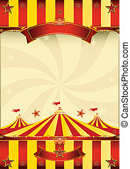 A red and yellow poster whith a big top for your advertising.