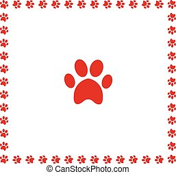 Red animal pawprint icon framed with paw prints border