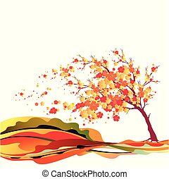red autumn, flowers tree , on a white