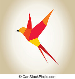 Abstract bird red made of figures