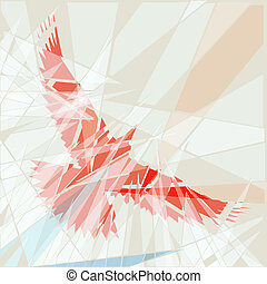 Editable vector illustration of a flying red bird as if seen through shattered glass