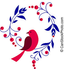 red bird sitting on a branch with flowers, vector illustration