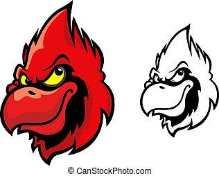Red cardinal bird head in cartoon style for sports mascot design