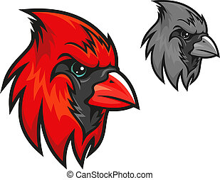 Red cardinal bird in cartoon style for mascot symbol design