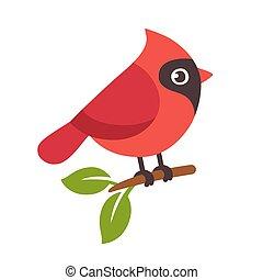 Red northern cardinal bird on tree branch. Cute cartoon vector illustration.