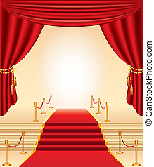 red carpet, golden stanchions, stairs and curtains