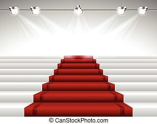 Red Carpet under Spotlights