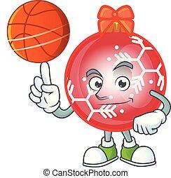 Red christmas ball cartoon with holding basketball mascot