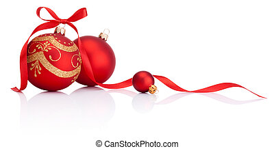 Red christmas decoration balls with ribbon bow isolated on white background