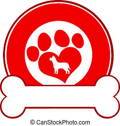 Red Circle Label Design With Paw
