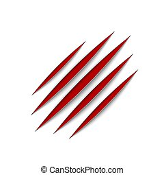 Red claws animal scratch scrape track. Cat or tiger scratches paw shape. Four nails trace. Vector illustration isolated on white