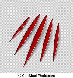 Red claws animal scratch scrape track. Cat or tiger scratches paw shape. Four nails trace. Vector illustration isolated on transparent background