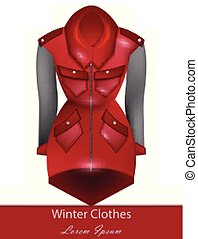 Red coat Vector. Winter Fashion design clothing