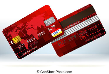 Red Credit cards front and back. EPS 8