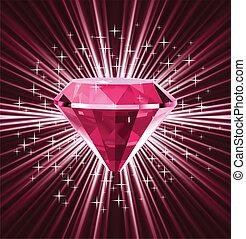 Red diamond on bright background. Vector illustration