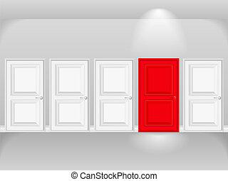 Red door in row of white doors, vector eps10 illustration