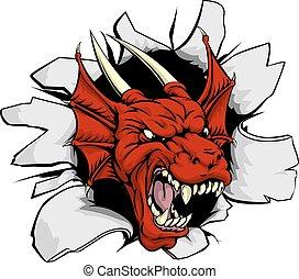 Red dragon smashing out