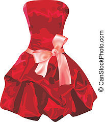 Scalable vectorial image representing a red dress, isolated on white.