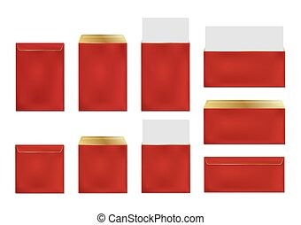 Red envelopes, blank paper covers template set