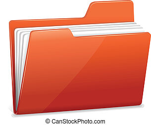 Red file folder icon isolated on white