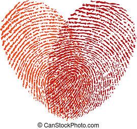 red fingerprint heart, vector design element for wedding invitation, cards