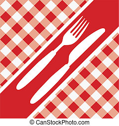 Menu Card - Red and White Gingham Texture and Cutlery