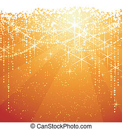 Red golden background with sparkling stars for festive occasions. Great as Christmas or Neaw years background.