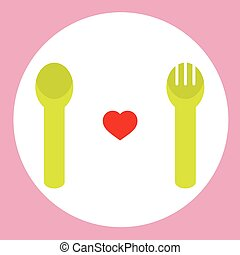 Red Heart With Spoon And Fork.