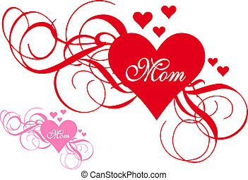 Red heart with swirls, mother's day