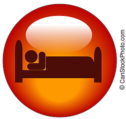 red icon of person lying down in bed