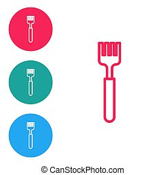 Red line Fork icon isolated on white background. Cutlery symbol. Set icons in circle buttons. Vector Illustration