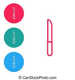 Red line Knife icon isolated on white background. Cutlery symbol. Set icons in circle buttons. Vector Illustration