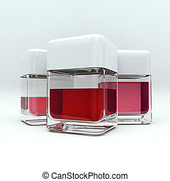 3D rendering of 3 containers with red liquid