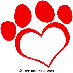 Red Love Paw Print Cartoon Character