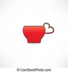 red mug with a handle in the shape of heart