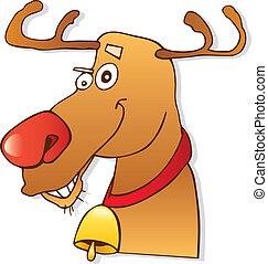 Illustration of red nose reindeer