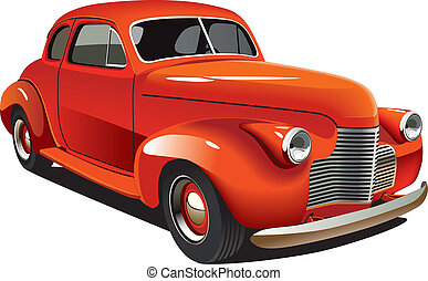 Vectorial image of old-fashioned red hot rod, isolated on white background. Contains gradients and blends.