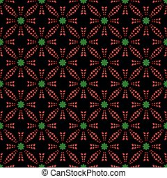 Red pattern with green stars on black seamless background.