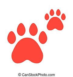 red paws pet on white background