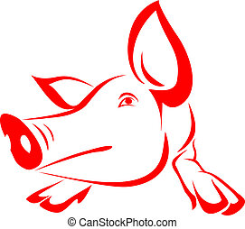 Red pig on a white background - vector