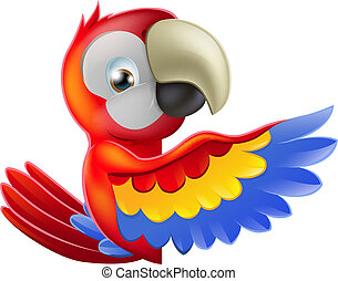 A red macaw parrot leaning round a sign or banner and pointing his wing at what is written on it