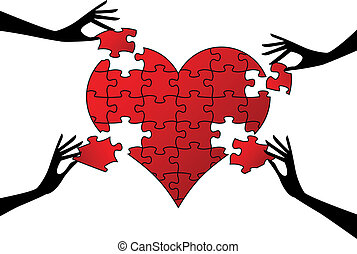 red puzzle heart with hands, vector