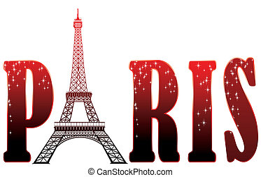red sign Paris with eiffel tower